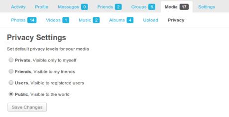Default User Privacy Settings for BuddyPress Media