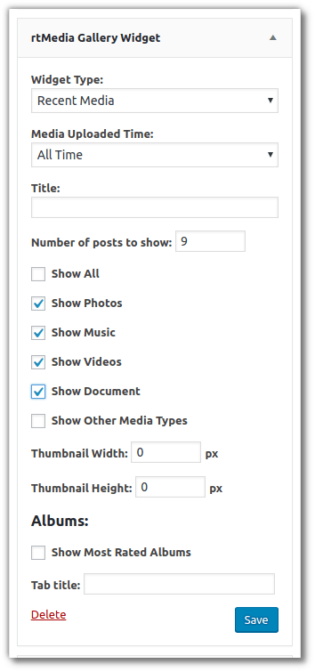 rtMedia Sidebar Widget admin settings