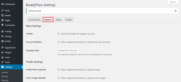 activate buddypress options