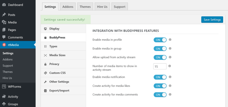 rtmedia buddypress integration settings