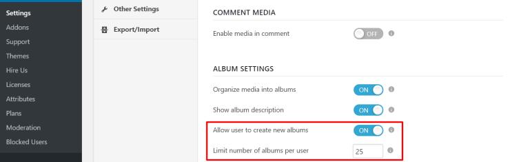 rtmedia album settings