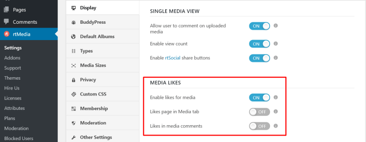 rtmedia media likes button for buddypress