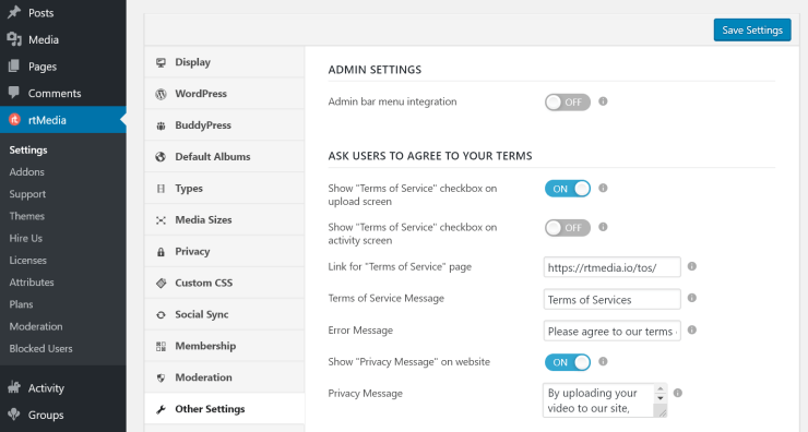 rtmedia terms of service and privacy policy settings