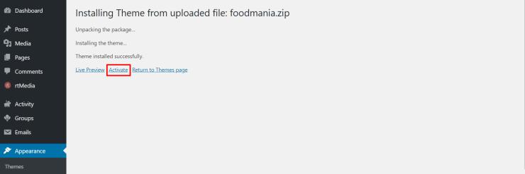 activate foodmania wordpress theme