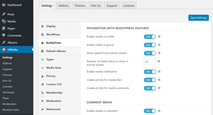 rtmedia buddypress settings