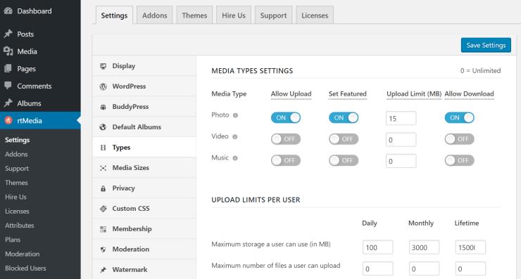 rtmedia types settings