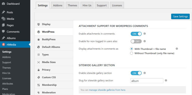 rtmedia wordpress settings