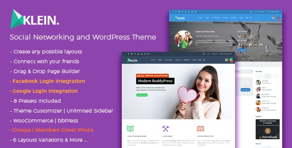 Klein - Social Networking and BuddyPress Community Theme