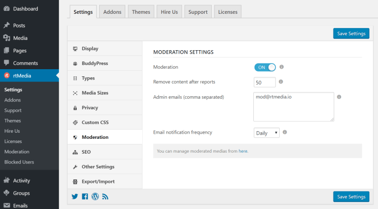 rtmedia moderation settings