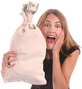 [Picture of girl holding a bag of cash]