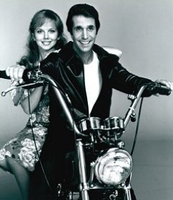 [Picture of The Fonz on Motorcycle - Happy Days]