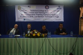 From left to right: Bernhard Fuerst, Johannes Zeck (both BHS Corrugated), Phuvong Onnavong (NTC) and Kukeo Phammavong (LGTC)