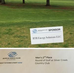 RTR's Sponsorship sign on hole 7 and our second place prize