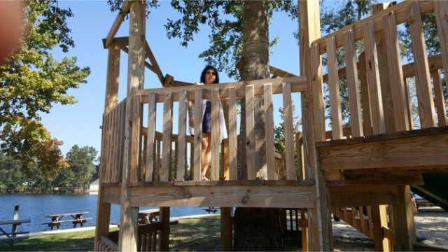 Nice playground and tree house for the kids!