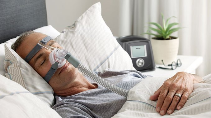 fisher and paykel cpap mask on patient