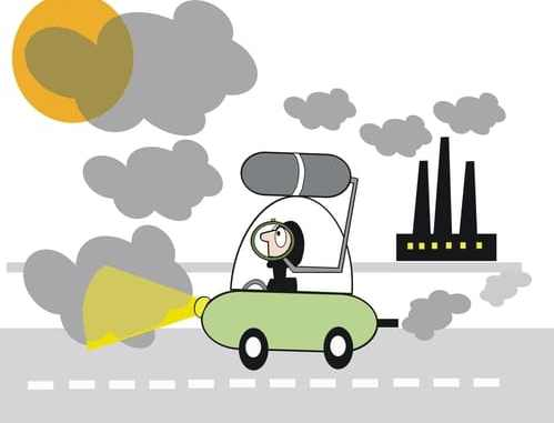 car in smog cartoon