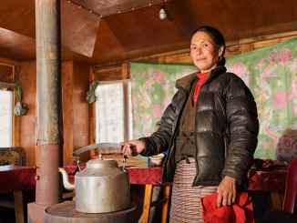 woman indoor cooking biomass stove