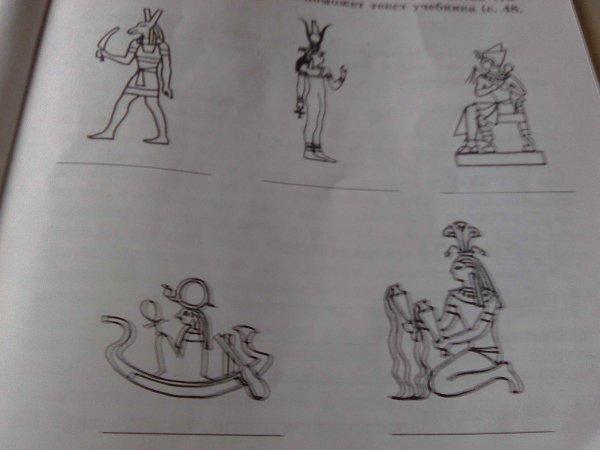 Рассмотрите иллюстрации и подпишите имена египетских богов ...