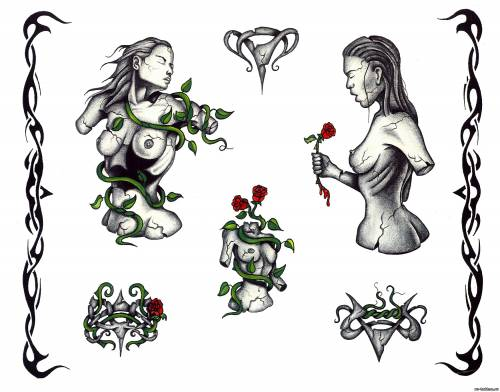 Татушки эскизы с девушками и цветами - Тату демонов ...