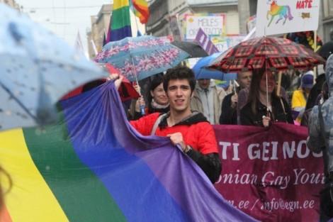 """В """"Балтийском прайде 2012"""" приняло участие несколько сотен человек   Foto: DELFI"""