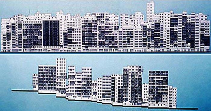 Вид города-крепости с южной (вверху) и с западной (внизу) стороны. Высота домов в Коулуне составляла в среднем 10-12 этажей (фото с сайта flex.co.jp).