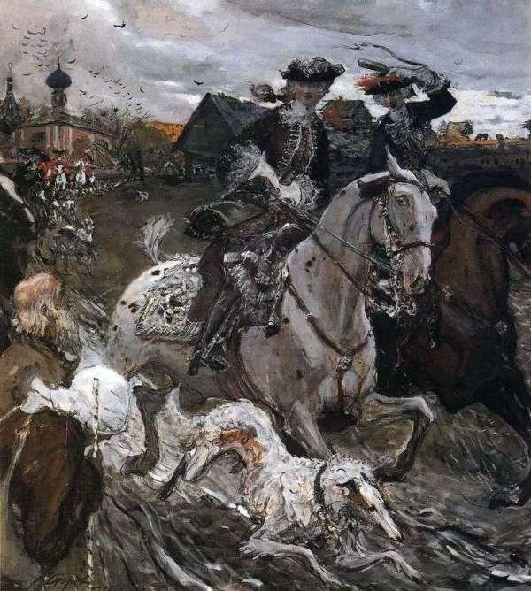 Описание картины «Выезд императора Петра II и цесаревны ...