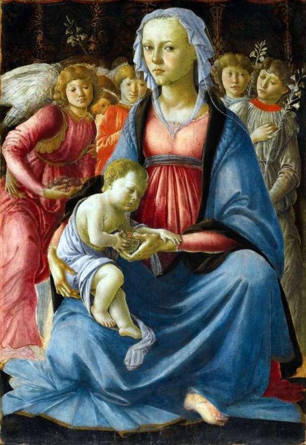 Описание картины «Мадонна с Младенцем и пятью ангелами ...
