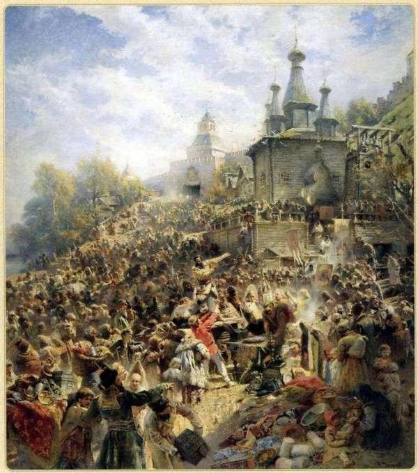 Описание картины «Минин на площади Нижнего Новгорода ...