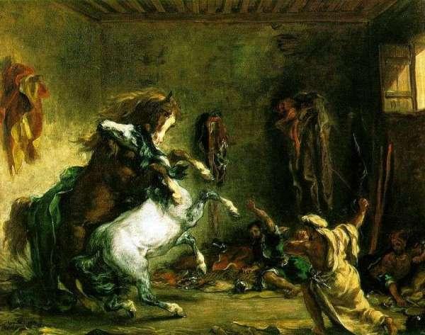 Описание картины «Схватка арабских скакунов» — Эжен ...