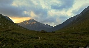 Looking back up Glen Rosa on Arran. Cir Mhor in evening sunshine.