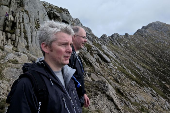 Summit of Goatfell in the background as the route forward is anticipated.