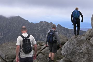 Making our way off the top of Goatfell towards the North side.