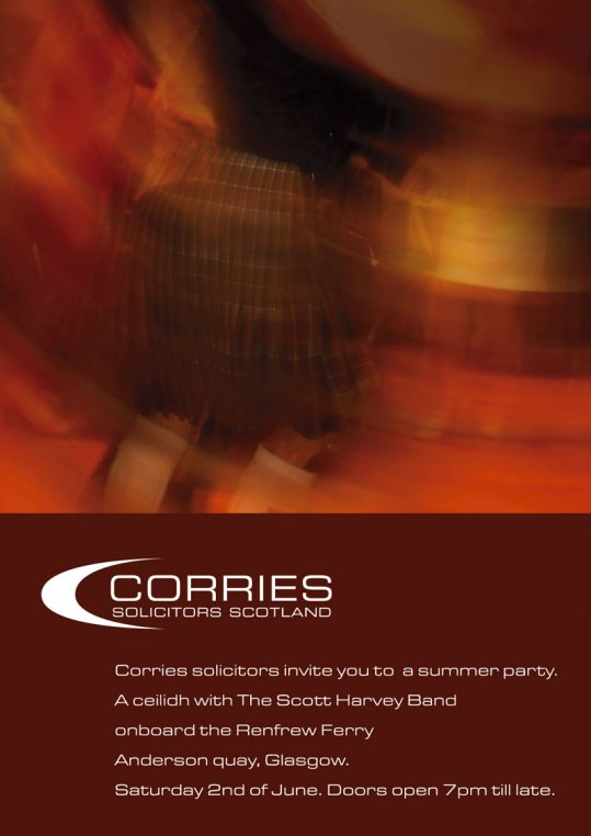 Photography & design for solicitor's annual ceilidh dance invitation.