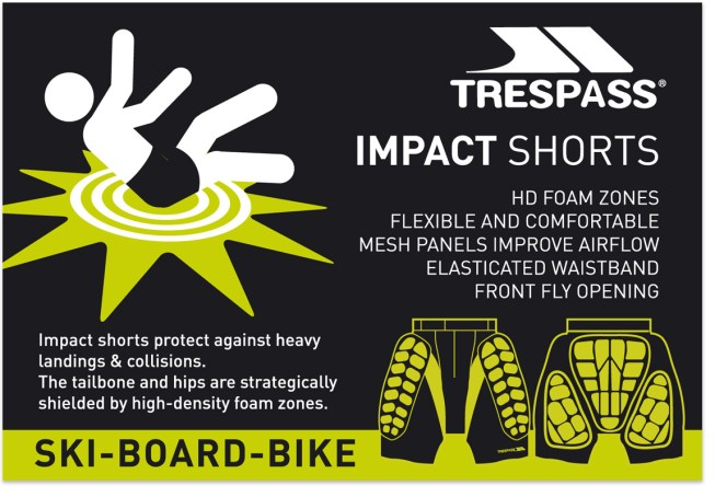 Design and illustration. Information label for impact short packaging.