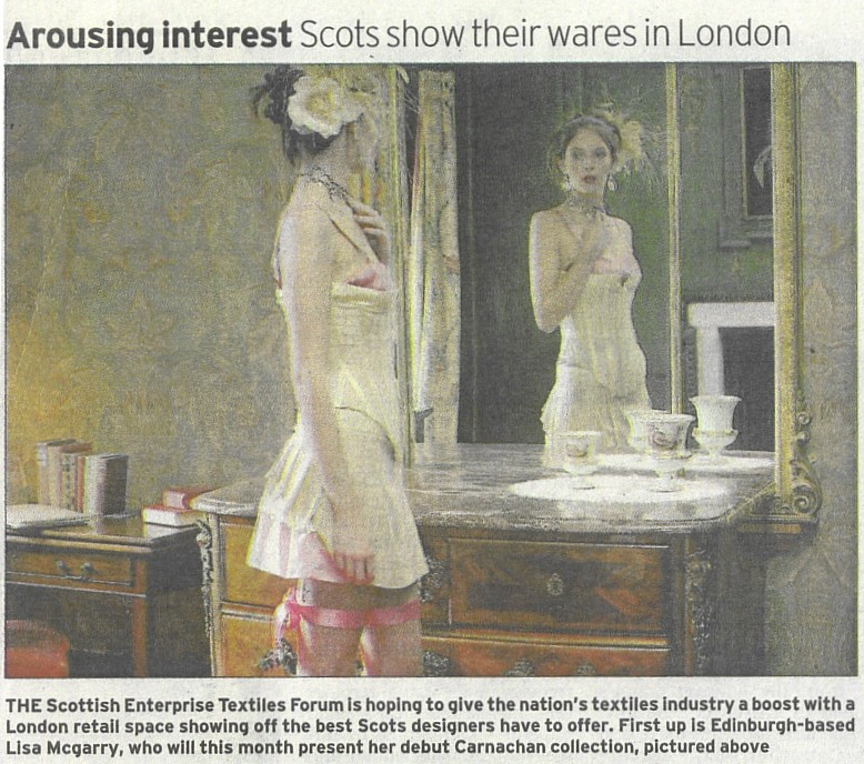An article in the Scotsman on Edinburgh's local talent. I did the photo's for Lisa McGarry's Carnachan range.