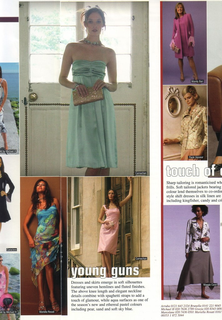An article in the WWB featuring Lisa McGarry's Carnachan range. I shot the emerald and pink dresses here for Lisa.