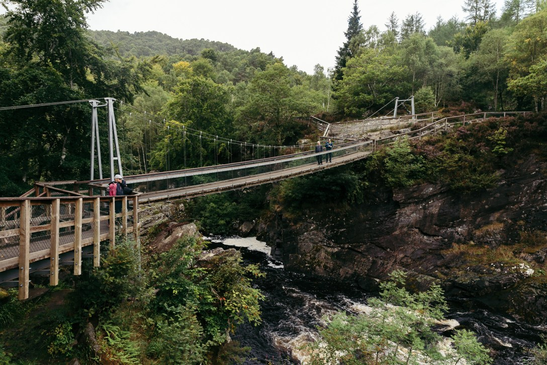 Rogie Falls suspension bridge
