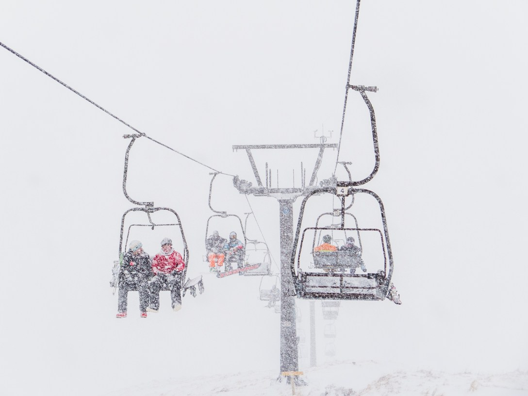 Glencoe chairlift in heavy snow