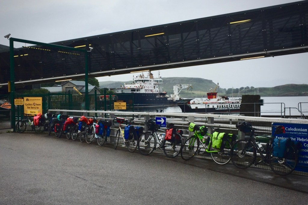 Queue of bikes for the Barra ferry from Oban