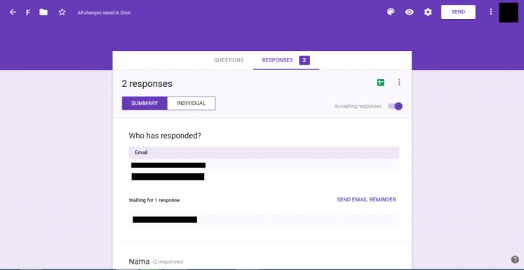 Google Form Bagian Response
