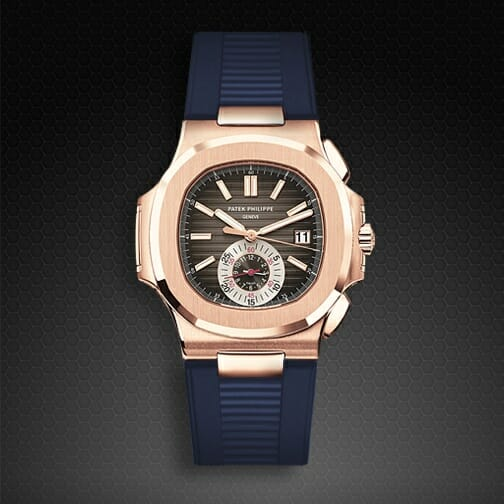 Navy Blue Rubber Strap For Patek Philippe Nautilus