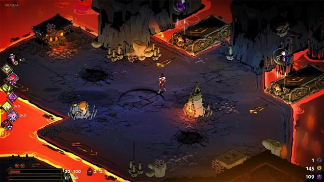 Screenshot de Hades. Uma paisagem de Asphodel, com lava e chão em tons escuros e frios.