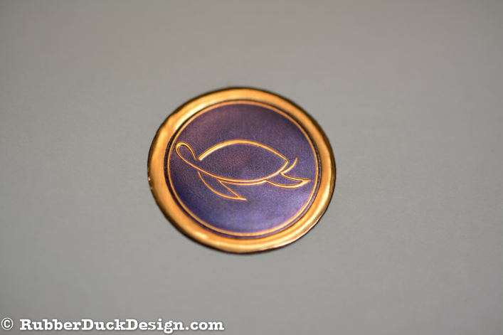 Embossed Bronze Foil Seal with Blue Tint - Wedding and Personal Seal