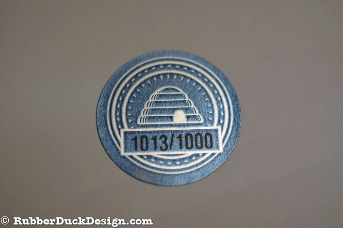 Ink Printed Seal with Blue and Black Ink on Burnished Silver Foil