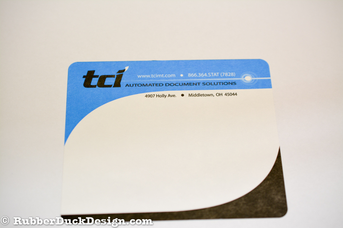Ink Printed Seal - Black and Blue Ink on White Matte