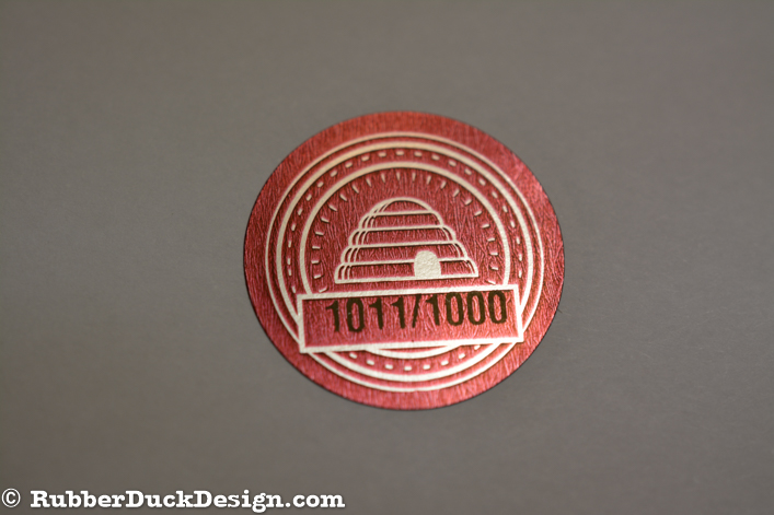 Ink Printed Seal - Red and Black Ink on Bright Silver Foil