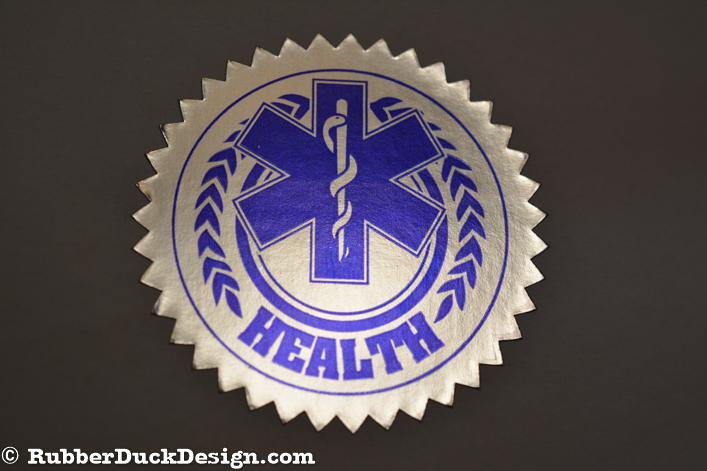 Ink Printed Seal - Blue Ink on Bright Silver Foil