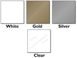 white, gold, silver, or crystal clear plastic stock