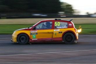 Supernational driver Stuart Cozens in his fire breathing Renault V6