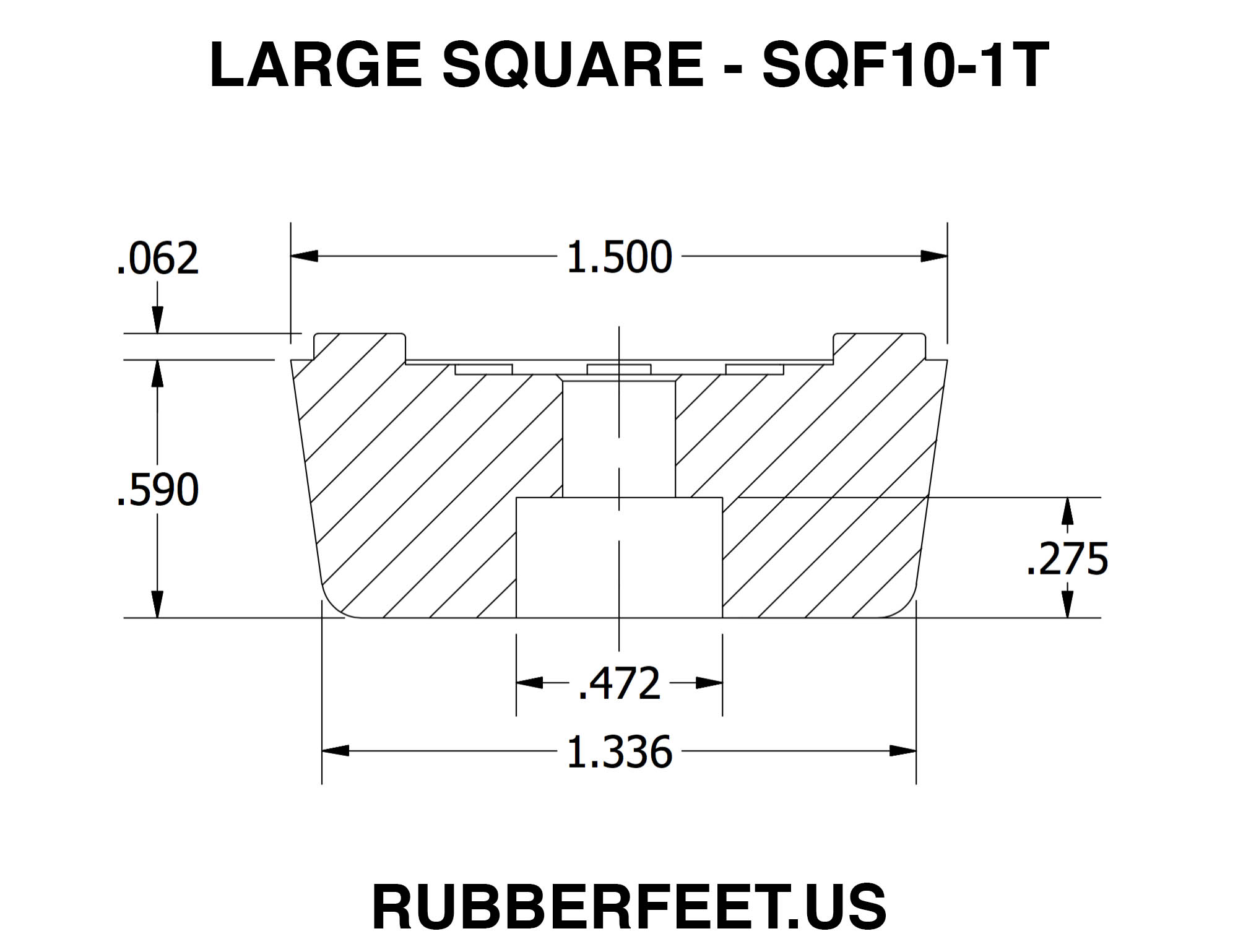 Large Square Rubber Feet 590 H X 1 500 W Rubberfeet